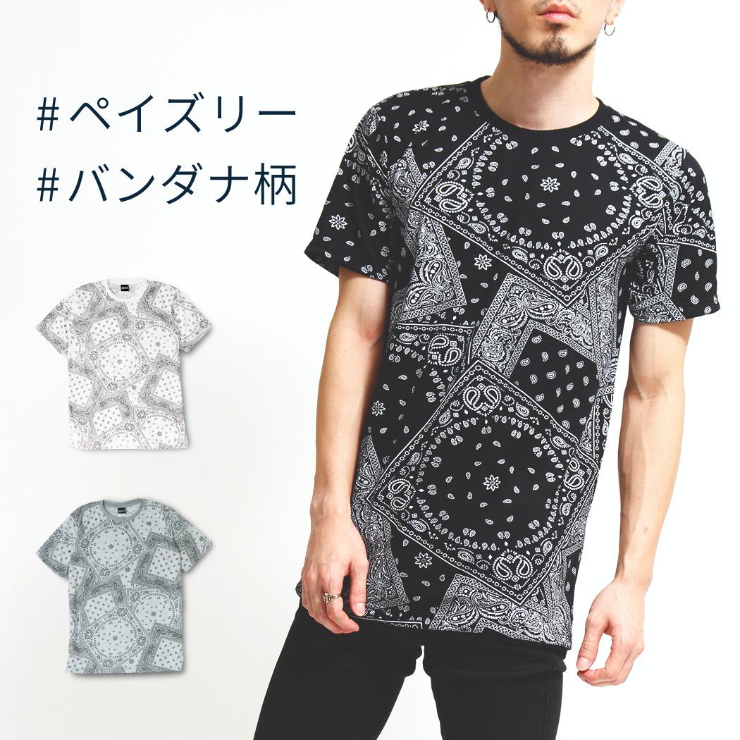 ペイズリー柄 Tシャツ 半袖 クルーネック