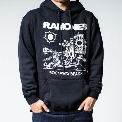 プルオーバー ロックパーカー Ramones ラモーンズ Rockaway Beach 裏起毛/フード/パーカー/メンズ agp-0024