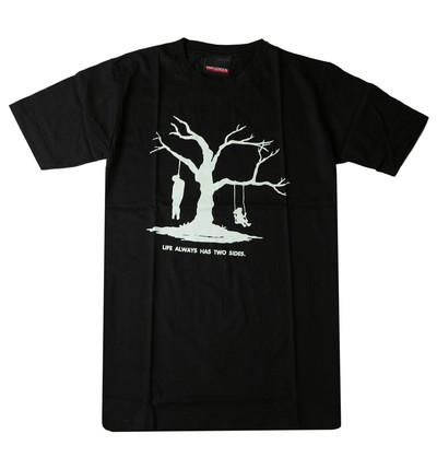 プリントTシャツ Life always has two sides 人生の二面性 メンズ/レディース/半袖/おもしろ/おしゃれ udt-0005(unf-)