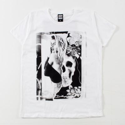 クルーネック プリントTシャツ 骸骨 女の人 mao-0045