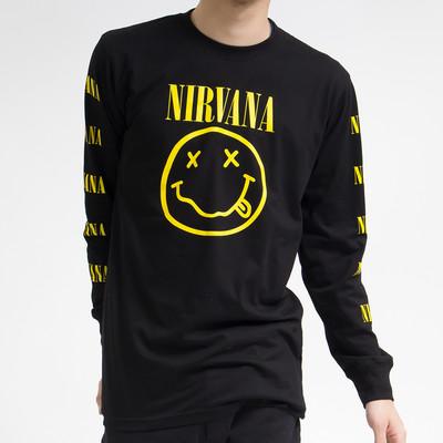 ロックTシャツ ロンT Nirvana ニルヴァーナ イエローニコちゃん agl-0003