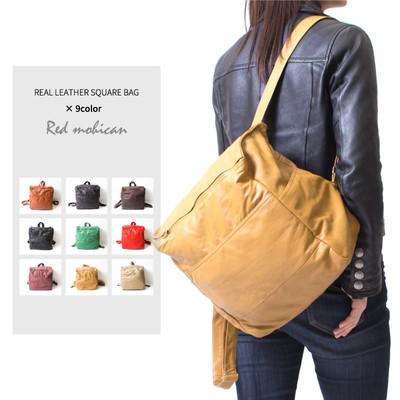 レザースクエアリュック 本革 Red-Mohican レディース メンズ Mens&Ladies バックパック デイパック ショルダー カバン 鞄 カジュアル ビジネス rlb-0001