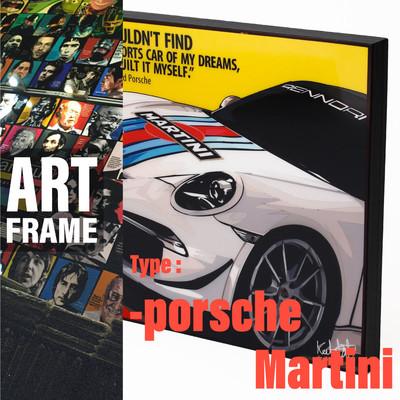 ポップアートフレーム 壁掛け 25cm×25cm Porsche_Martini インテリア/絵画/おしゃれ/雑貨 paf-0311
