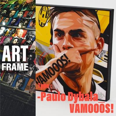 ポップアートフレーム 壁掛け 25cm×25cm  Paulo_Dybala_VAMOOOS!インテリア/絵画/おしゃれ/雑貨 paf-0781