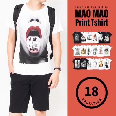 プリントTシャツ メンズ 半袖 プリント Tシャツ カットソー 白 黒 ペア カジュアル ストリート (mao-) mmt-4003