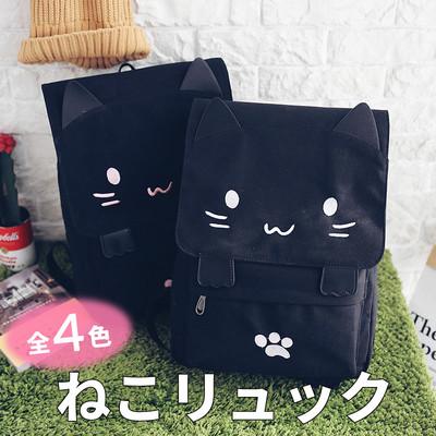かわいい ねこリュック レディース 可愛い リュック 通学 高校生 中学生 大人 バッグ かばん 鞄 旅行 リュックサック デイパック バックパック A4 大容量 軽量 猫 ネコ おしゃれ 個性的 キッズ キャンバス コンパクト cbp-0017