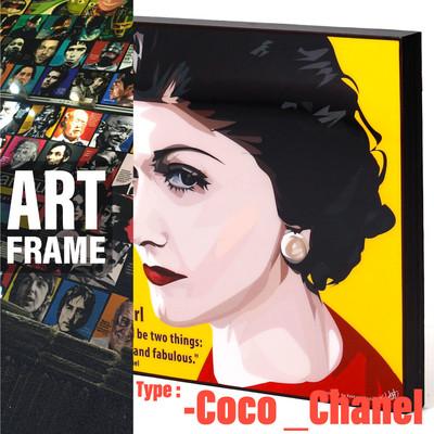 ポップアートフレーム 壁掛け 25cm×25cm Coco_Chanel ココ・シャネル インテリア/絵画/おしゃれ/雑貨 paf-0362