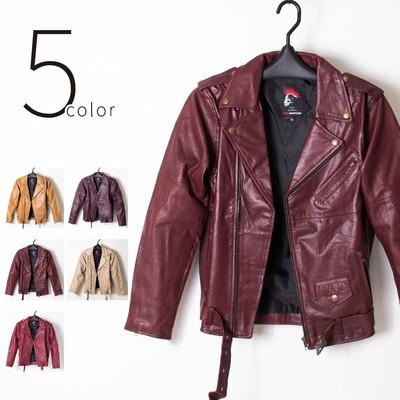 5color Red-Mohican 本革 ライダース ジャケット ダブル メンズ/革ジャン/レザー ljk-1005