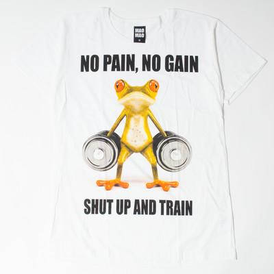 プリントTシャツ SHUT UP AND TRAIN メンズ/レディース/半袖/Tシャツ/プリント/秋 mao-0006
