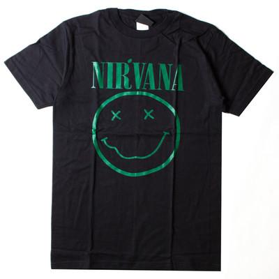 ロックTシャツ Nirvana ニルヴァーナ ニコちゃん Smiley Face グリーンロゴ wft-0474