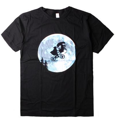 プリントTシャツ 地球外生命体との月夜のサイクリング メンズ/レディース/半袖/おもしろ/おしゃれ nki-0009