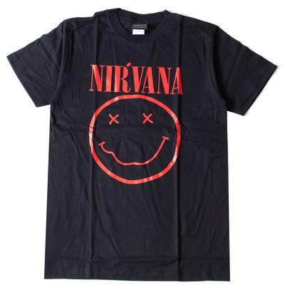 ロックTシャツ Nirvana ニルヴァーナ ニコちゃん Smiley Face レッドロゴ wft-0475