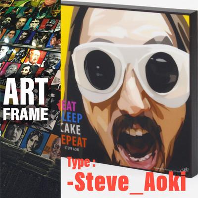 ポップアートフレーム 壁掛け 25cm×25cm Steve_Aoki インテリア/絵画/おしゃれ/雑貨 paf-0633