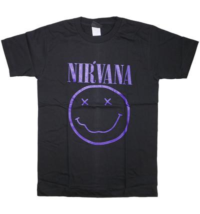ロックTシャツ Nirvana ニルヴァーナ ニコちゃん Smiley Face パープルロゴ wft-0473