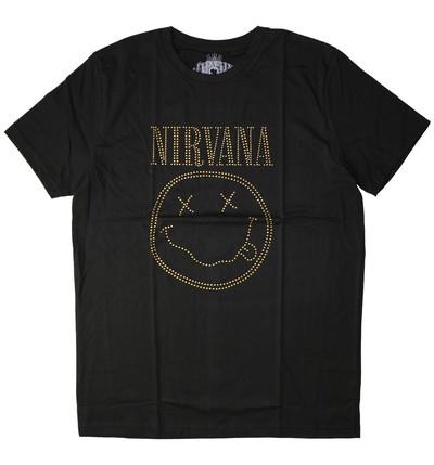 ラインストーン ロックTシャツ Nirvana ニルヴァーナ ニコちゃん Smiley Face rst-0028