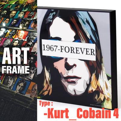 ポップアートフレーム 壁掛け 25cm×25cm Kurt Cobain 4 カート・コバーン 4 インテリア/絵画/おしゃれ/雑貨 paf-0577