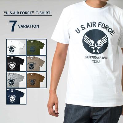 U.S. AIR FORCE Tシャツ 半袖 エアーフォース クルーネック メンズ レディース 無地 Tシャツ Army ロゴ カレッジロゴ ミリタリー アメカジ トップス カットソー ティーシャツ ロゴT 黒 ブラック 白 ホワイト 緑 グリーン 紺 Tシャツ tat-0007