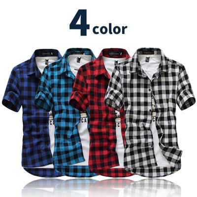 チェックシャツ 半袖 ライトクロス使用 メンズ レディース ユニセックス 男女兼用 シンプル カジュアルシャツ ネルシャツ ギンガムチェック バッファローチェック 赤 白 紫 チェック シャツ コットン ボタン シャツchs-0001