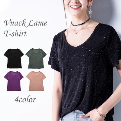 ee666531b5f2b 4color レディース Vネック とろみ グリッター Tシャツ 半袖 無地 ラメ Tシャツ 涼しい インナー カットソー
