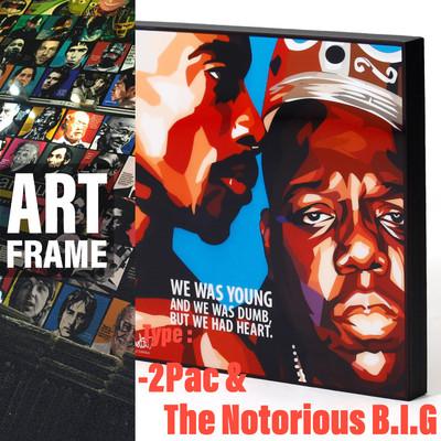 ポップアートフレーム 壁掛け 25cm×25cm 2Pac&The_Notorious_B.I.G. 2パック&ノトーリアス・B.I.G.Legends インテリア/絵画/おしゃれ/雑貨 paf-0591