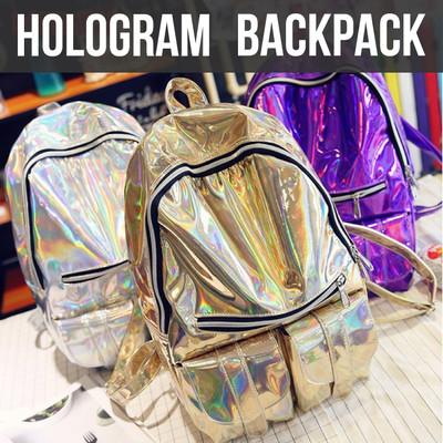 ホログラム リュック レディース リュックサック バックパック 通学 高校生 軽量 大容量 A4 原宿 おしゃれ オーロラ ナイロン かわいい 可愛い バッグ かばん 鞄 人気 ゴールド シルバー 紫 cbp-0015