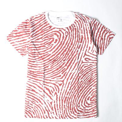 プリントTシャツ 指紋柄 レッド メンズ/レディース/半袖/おもしろ/おしゃれ nki-0028