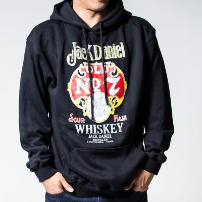 プルオーバー ロックパーカー Jack Daniel's ジャックダニエル ブラック Old No.7 ウイスキー agp-0035