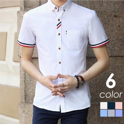オックスフォード 半袖 ボタンダウンシャツ トリコロール M-4XL メンズ カジュアルシャツ 無地シャツ 半袖シャツ 白シャツ ワイシャツ カラーシャツ ストライプ コットンシャツ chs-0002