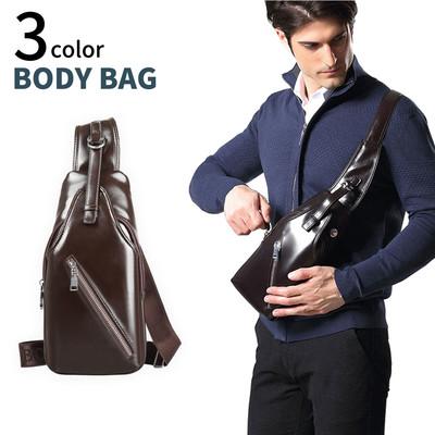 PUレザー ボディバッグ ショルダーバッグ 斜めがけ メンズ レディース バッグ かばん 鞄 革 収納 軽量 ウエスト ポーチ csb-0005