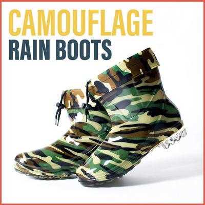 おしゃれ 迷彩柄 レインブーツ ショート レディース メンズ Mens&Ladies 長靴 雨靴 靴 シューズ レイン ウェア 防水 保温 防寒 軽量 梅雨 台風 crb-0002