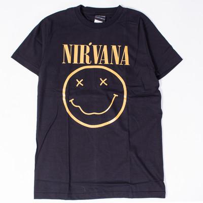 ロックTシャツ Nirvana ニルヴァーナ ニコちゃん Smiley Face ゴールドロゴ wft-0476