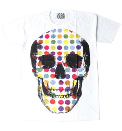 プリントTシャツ カラフル ドクロ メンズ/レディース/半袖/おもしろ/おしゃれ ara-0159
