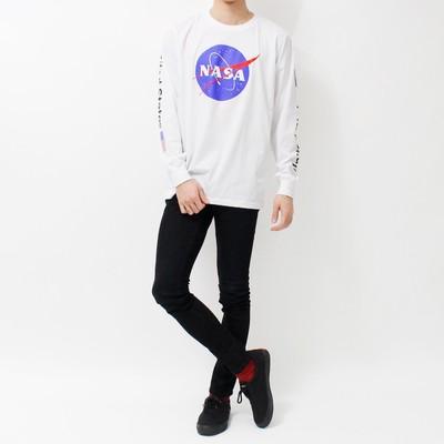 デザイン ロングTシャツ NASA ナサ ビッグ ロゴ USA 袖プリント ホワイト ミートボール 宇宙 agl-0009