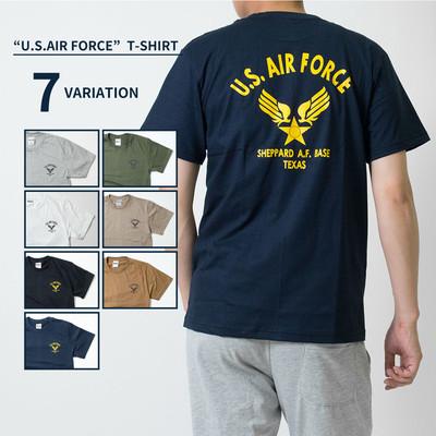 U.S. AIR FORCE Tシャツ エアーフォース 半袖 クルーネック メンズ レディース 無地 Tシャツ Army ロゴ カレッジロゴ ミリタリー アメカジ トップス カットソー ティーシャツ ロゴT 黒 ブラック 白 ホワイト 緑 グリーン 紺 Tシャツ tat-0008