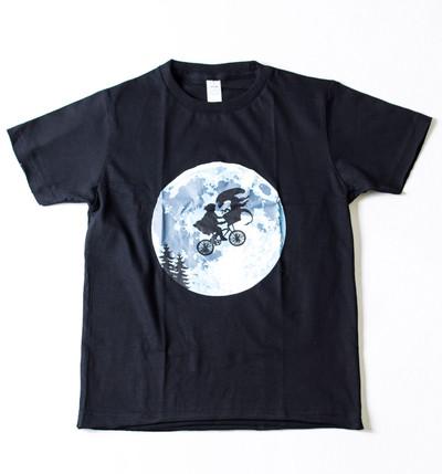 キッズ プリントTシャツ 地球外生命体との月夜のサイクリング ボーイズ/ガールズ/半袖/子ども/子供服 gpk-0008