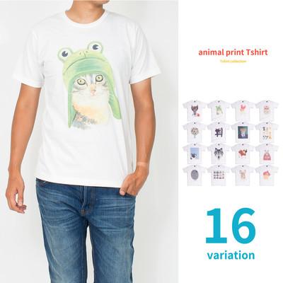 アニマルプリント Tシャツ メンズ レディース ユニセックス おもしろ 半袖 プリントTシャツ アニマル 動物 mrt-0001