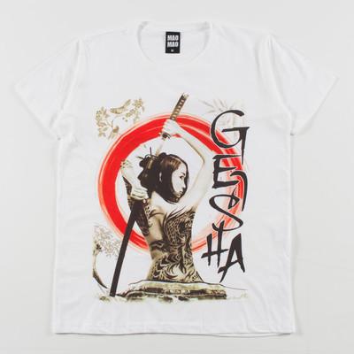 クルーネック プリントTシャツ 入れ墨 刀 女の人 mao-0050