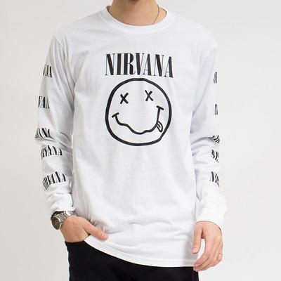 ロックTシャツ ロンT Nirvana ニルヴァーナ ブラックニコちゃん agl-0004