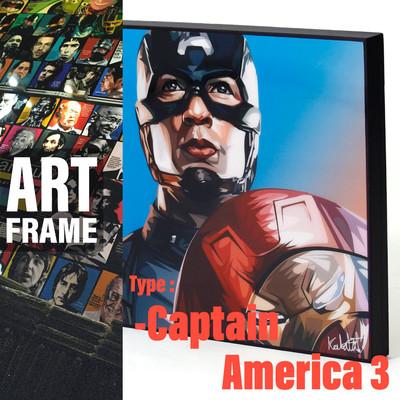 ポップアートフレーム 壁掛け 25cm×25cm Captain_America_3 キャプテン・アメリカ 3 インテリア/絵画/おしゃれ/雑貨 paf-0543