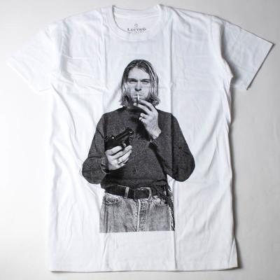 ロックTシャツ Kurt Cobain カート コバーン 拳銃 タバコ ebi-0318