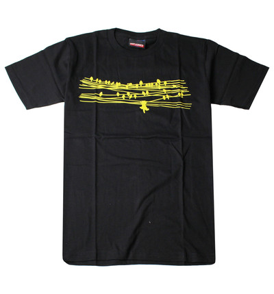 プリントTシャツ Hang in There 電線と鳥と、ネコ メンズ/レディース/半袖/おもしろ/おしゃれ udt-0013(unf-)
