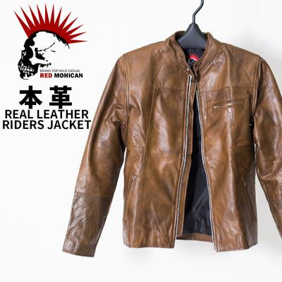 (アウトレット品) Red-Mohican 本革 ライダース ジャケット シングル /メンズ/レディース/革ジャン/レザー ljk-9001