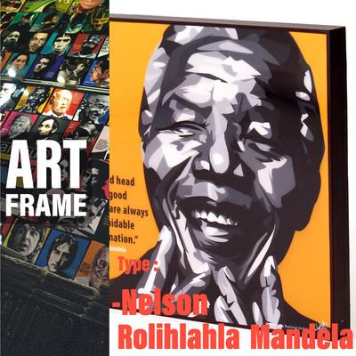 ポップアートフレーム 壁掛け 25cm×25cm Nelson_Rolihlahla_Mandela ネルソン・マンデラ インテリア/絵画/おしゃれ/雑貨 paf-0377