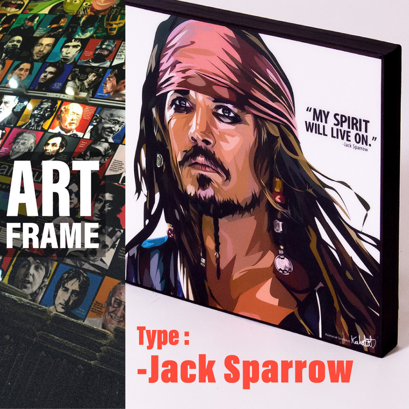 ポップアートフレーム 壁掛け 25cm×25cm Jack_Sparrow ジャック・スパロウ インテリア/絵画/おしゃれ/雑貨 paf-0182
