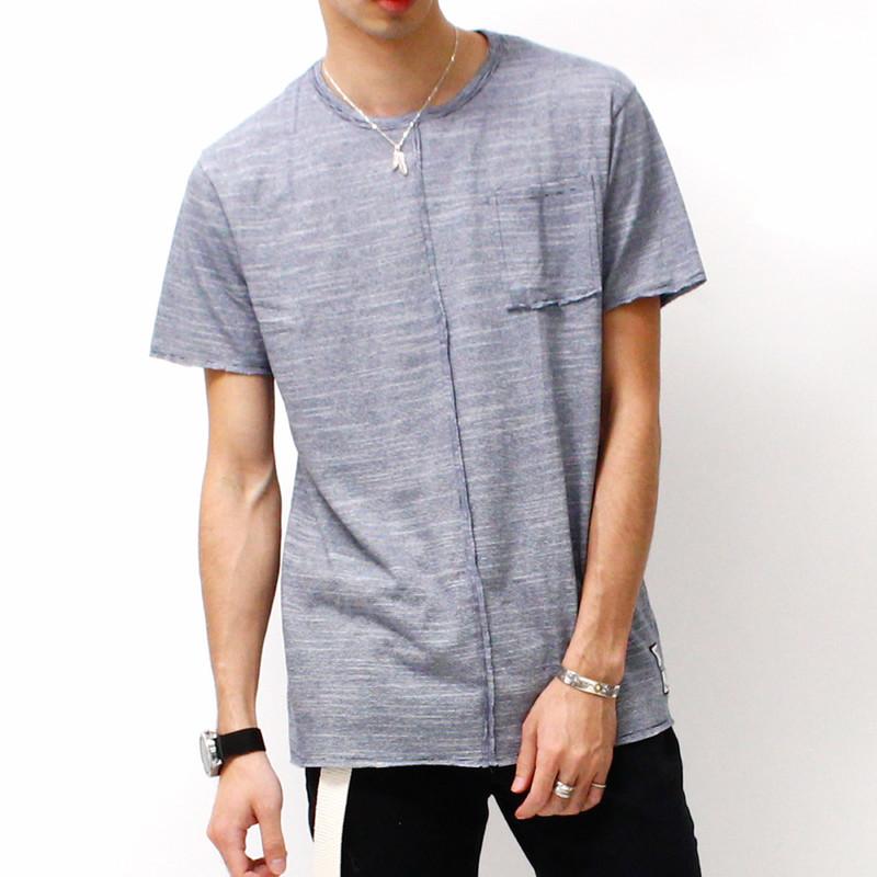 ボーダーTシャツ 半袖 メンズ トップス カットソー リメイク 春 夏 ネイビー 紺 rot-2001