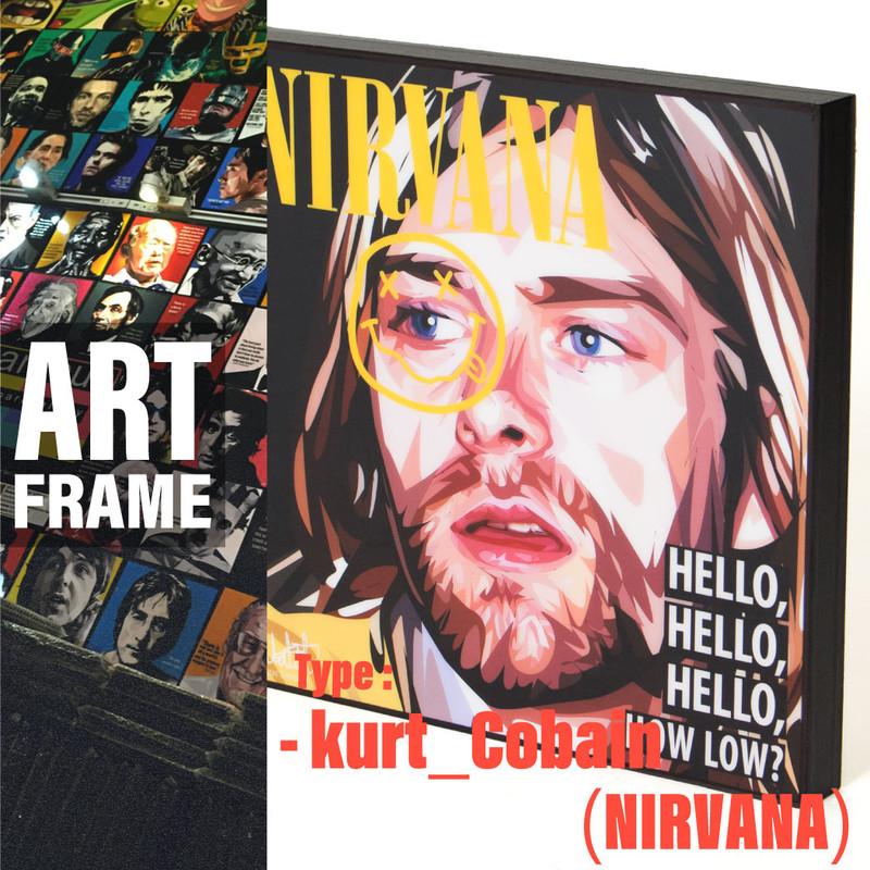 ポップアートフレーム 壁掛け 25cm×25cm Kurt_Cobain(NIRVANA) カート・コバーン インテリア/絵画/おしゃれ/雑貨 paf-0288