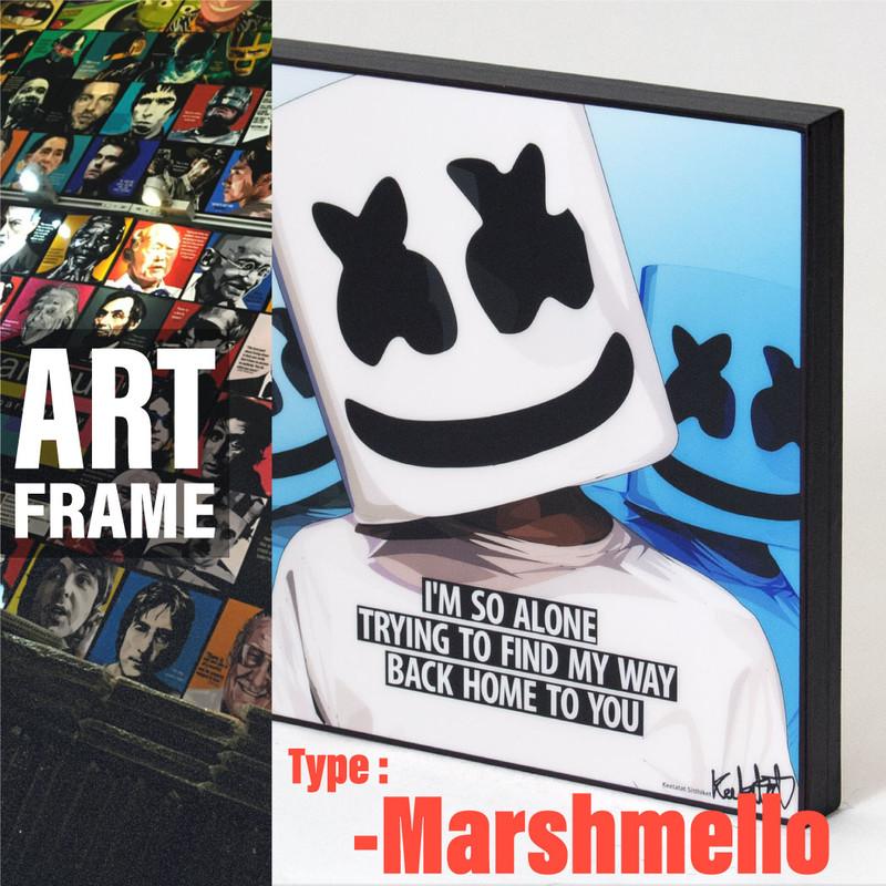 ポップアートフレーム 壁掛け 25cm×25cm Marshmello マシュメロ インテリア/絵画/おしゃれ/雑貨 paf-0267