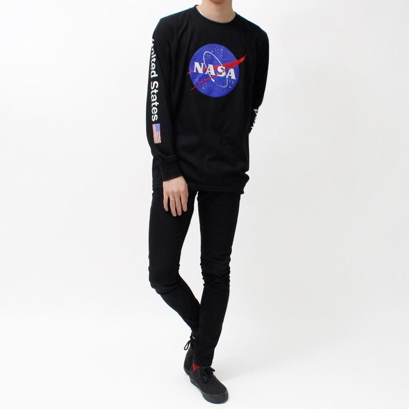デザイン ロングTシャツ NASA ナサ ビッグ ロゴ USA 袖プリント ブラック ミートボール 宇宙 agl-0010